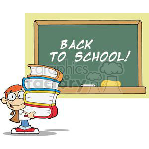 Student With Books In Front Of School Chalk Board With Text Back To School! clipart. Royalty-free image # 379024