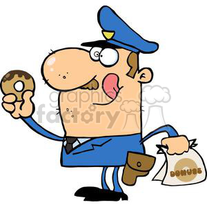 vector cartoon funny police law officer cop doughnut doughnuts eating