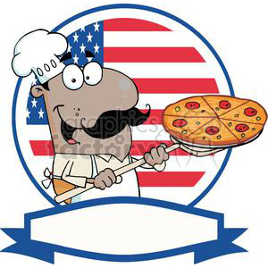 Banner of A Proud African American Cook Inserting A Pepperoni Pizza In Front Of Flag Of USA clipart. Commercial use image # 379049