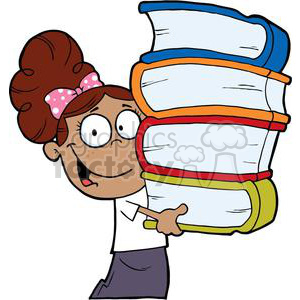 African American Girl With Pink Polka Dot Bow In Her Hair Carrying Books Books clipart. Royalty-free image # 379054