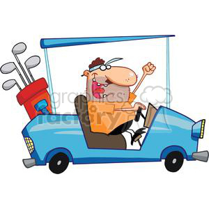 Happy Golfer Drives A Blue Golf Cart clipart. Royalty-free image # 379079
