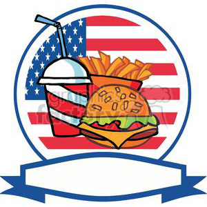 Banner Of A Cheeseburger Drink And French Fries In-Front Of Flag Of USA clipart. Commercial use image # 379084