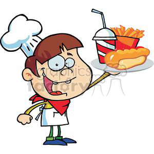 Fast Food Boy Chef Holding Up Hot Dog Drink And French Fries On A Serving Platter clipart. Royalty-free image # 379094