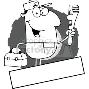 man carrying a wrench and tool box banner