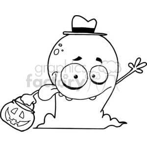 Goofy Ghost Goes Trick Or Treating clipart. Royalty-free image # 379109
