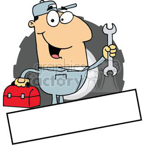 Mechanic With A Tool Box And Wrench Banner clipart. Royalty-free image # 379114