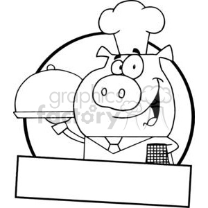 Waiter Pig Serving Food On A Platter Banner clipart. Commercial use image # 379124