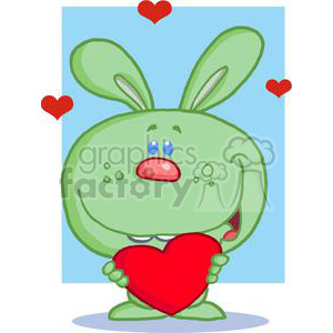A Green Bunny Holds Heart In front Of A Blue Background