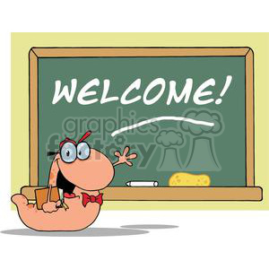 A Waving Bookworm Student With A Red Bow Tie In Front Of School Chalk Board With Text Welcome! clipart. Royalty-free image # 379139