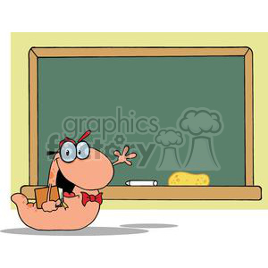 A Bookworm with Hat Bow tie and Book In Front Of A School Chalk Board clipart. Commercial use image # 379144