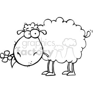 A Silly Sheep With Flower In Mouth clipart. Commercial use image # 379164