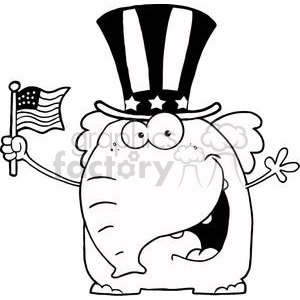 A Patriotic Elephant Waving An American Flag On Independence Day In Black And White clipart. Commercial use image # 379169