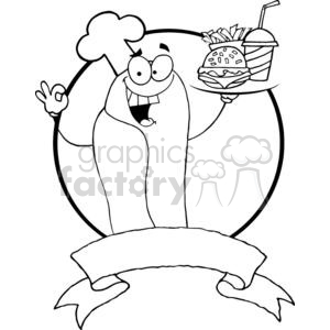 Banner Hot Dog Chef Holder Plate Of Hamburger And French Fries clipart. Royalty-free image # 379174