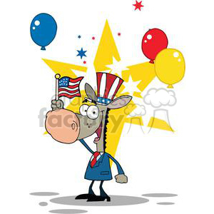 A Happy Patriotic Donkey Waving An American Flag On Independence Day With Balloons clipart. Commercial use image # 379189