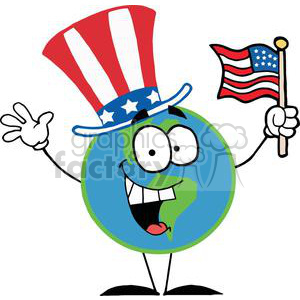 Globe Character with American Patriotic Hat And American Flag clipart. Commercial use image # 379199