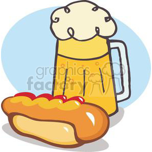 A Beer and Hot Dog In front Of A Blue Background clipart. Royalty-free image # 379204
