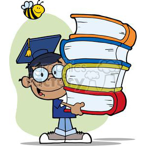 african american boy in graduation cap carrying four books with a yellow and black bee