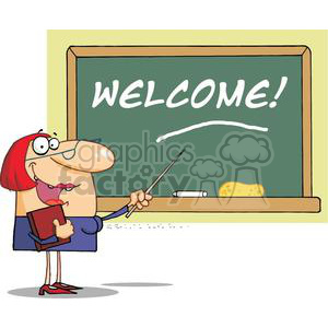 school woman teacher with a pointer displayed on chalk board text welcome!