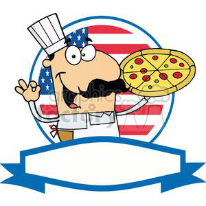 A Banner of A Happy Male Pizza Chef With His Perfect Pie In Front Of Flag Of USA clipart. Commercial use image # 379219