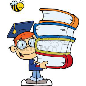 Red Headed Boy In Graduation Cap With Books In Their Hands clipart. Commercial use image # 379224