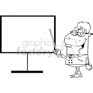 Physicist Teacher Shows A Pointer On A Board clipart. Commercial use image # 379229