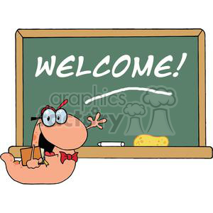 A Smiling And Waving Bookworm Student In Front Of School Chalk Board With Text Welcome! clipart. Commercial use image # 379239