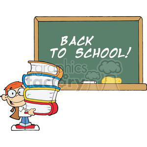Student holding books in front of a chalk board at school - Back to School! clipart. Commercial use image # 379244