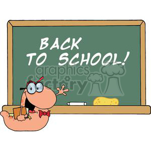 A Waving Bookworm In Front Of School Chalk Board With Text Back to School! clipart. Commercial use image # 379254