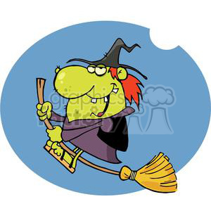 Happy Witch Rides Broom In The Night clipart. Royalty-free image # 379284