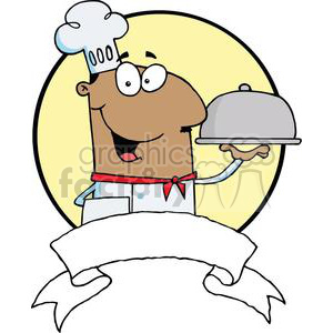 African American Serving Food In A Sliver Platter clipart. Royalty-free image # 379289