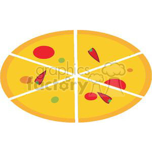 A Golden Cheese and Pepperoni Pizza clipart. Royalty-free image # 379294