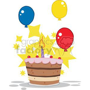 Birthday Cake With One Candle Lit And Balloons And Stars clipart. Royalty-free image # 379299