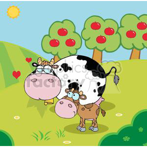 Country Farm Scene Cow With A Little-Calf clipart. Commercial use image # 379304