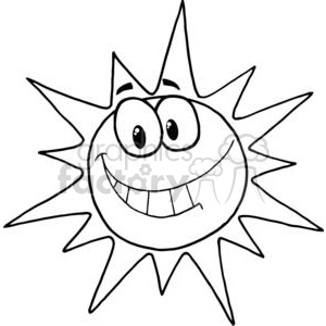 Cartoon Character Smiling Sun clipart. Commercial use image # 379324