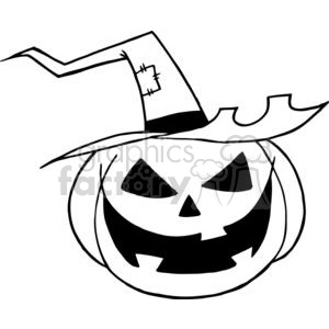 Halloween pumpkin black+white cartoon