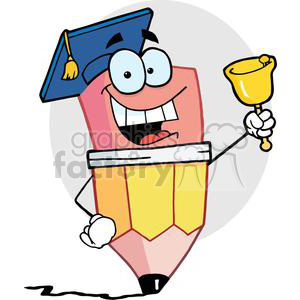 graduate pencil cartoon character ringing a bell