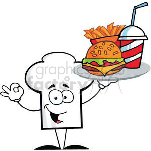 cartoon chefs hat character holder plate of hamburger and french fries