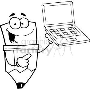 Pencil Cartoon Character Presents Laptop clipart. Royalty-free image # 379359