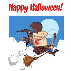 Happy Holidays Greeting With Witch rides broom copy1 clipart. Royalty-free image # 379364