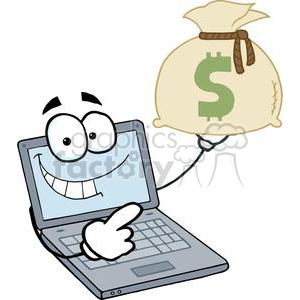 Laptop Cartoon Character Displays Money Bag clipart. Royalty-free image # 379369