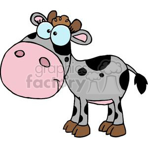 cartoon character calf different color gray