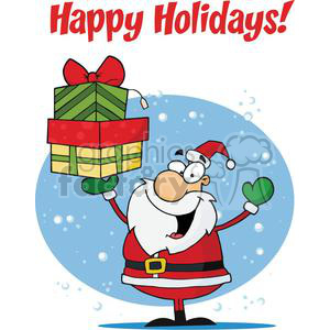 Holiday Greetings With Santa Claus clipart. Royalty-free image # 379389