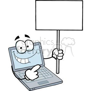 Laptop Cartoon Character Holding A Blank White Sign clipart. Commercial use image # 379394