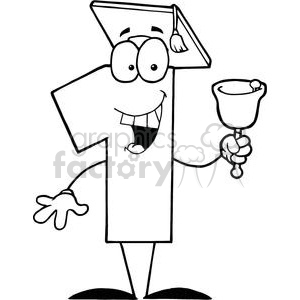 Number One Ringing A Bell And Graduate Cap clipart. Royalty-free image # 379399
