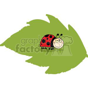 Mascot Cartoon Character Ladybug On Green Leaf clipart. Royalty-free image # 379404