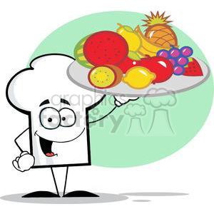 Cartoon Chefs Hat Character Holder Plate Of Fruits clipart. Commercial use image # 379409