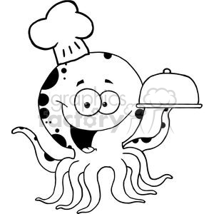 cartoon funny comical comic vector octopus chef black white