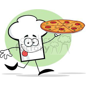 Cartoon Chefs Hat Character Holding And Running With Pizza clipart. Commercial use image # 379424