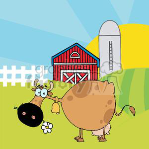 Cartoon Character Cow Different Color Brown In Front Of Country Farm clipart. Royalty-free image # 379429