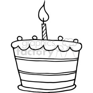 Black And White Birthday Cake One Candle Clipart